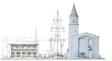 Dessin du clocher de Port Grimaud - Var
